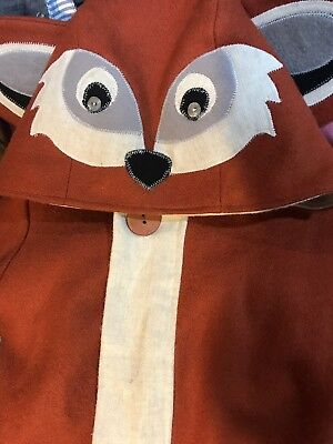 Unique Boutique Child 4/5 Fox Wool Coat Lined Wooden Buttons Hood Tail