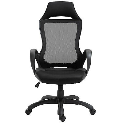 Executive Racing Chair Rocking Chair Padded Seat w/ Wheels& Easy Gas Lift Black