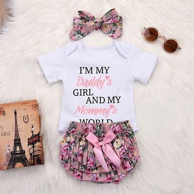 Floral Ruffles Romper Jumpsuit Baby Girls Outfit Bodysuit DADDY Letters Printed