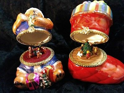 Christmas Music Boxes (2) Both Adorable, EX!!