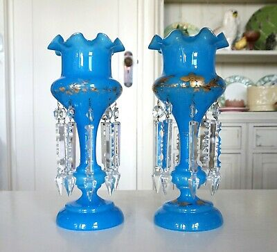 """Pair 32cm 12.5"""" Tall Antique Sky blue Lustre Luster Vases Crystal Drops Gold A F"""
