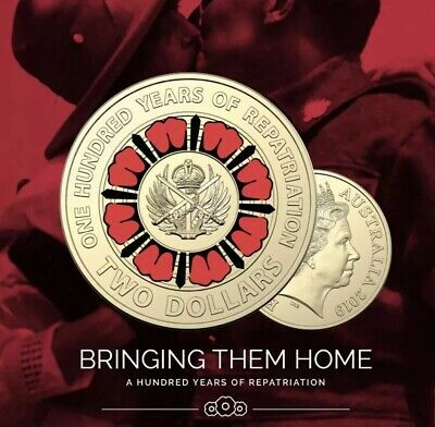 Brand New 2019 Bring Them Home 100 Years Repatriation Anzac $2 Coin UNC Ex Roll