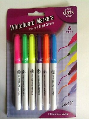 Whiteboard markers assorted colours - pack of 6