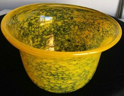 """Yellow Spatter Blown Glass Art Bowl. Signed By """"Marine"""". 3"""" X 5"""" Pontil Mark"""