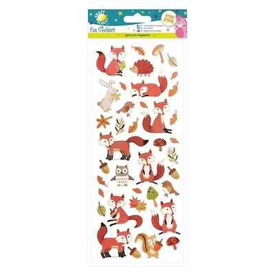Woodland Animal Stickers - Foxes Bunny Rabbits Owl Squirrel Autumn Leaves Robin