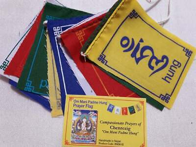 Mini Prayer Flags Om Mani Padme Hum  Chenrezig for luck, happiness, compassion,
