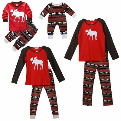 Family Matching Clothes Pajamas Sets Christmas Moose Mother Father Daughter Son