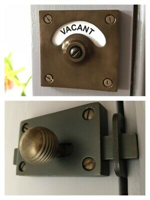 Antique Brass Finish Vacant Engaged Toilet Bathroom Lock Bolt Indicator Door