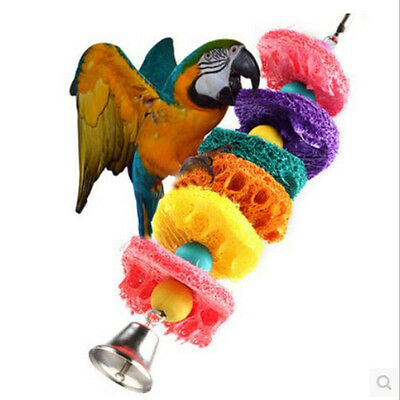 Easy Luffa Pet Bird Parrot Macaw Bell Swing Scratcher Parrot Bites Toy~GN