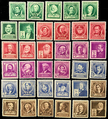 US STAMPS, 1940 #859-893, Famous Americans-Complete Set of 35 - VF Mint Hinged