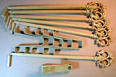 Victorian Swinging Drapery Curtain Rod Set Brackets Lot of 6 Pieces Expandable