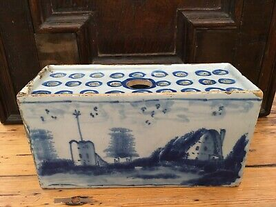 English Delft Flower Brick London 1750 Delftware Tin Glazed Pottery 17Th Century