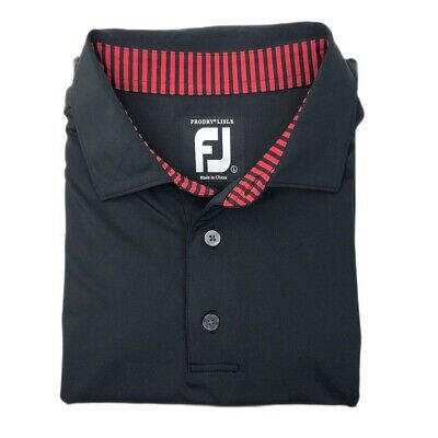 FootJoy FJ Prodry Lisle Golf Polo Shirt Mens Large Black Red Striped Stretch S/S