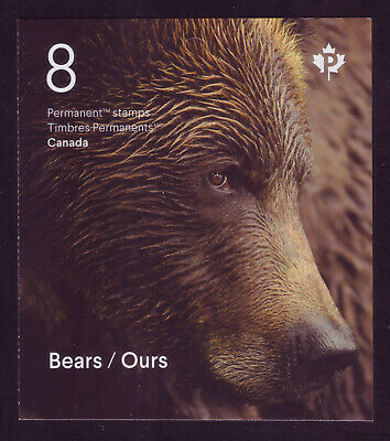 "CANADA 2019 Bears of Canada, Booklet, 8 x ""P"" Grizzly, Polar, Black, Kermode MNH"