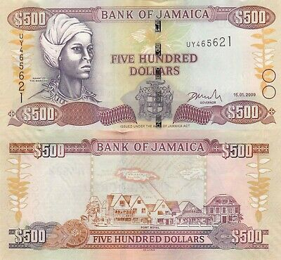 01.06.2017 Nanny of the Maroons//Port Royal//p85-New UNC Jamaica 500 Dollars