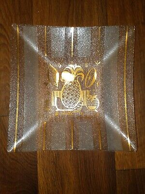 Georges Briard Glass Square Dish Tray Tropical Fruit Mid Century Modern