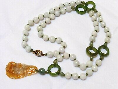 VINTAGE CHINESE JADE BEAD NECKLACE With PENDANT, Silver Clasp