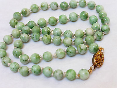 CHINESE VINTAGE APPLE GREEN JADE 8mm BEAD NECKLACE, SILVER  CLASP, 47 GRAMS