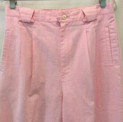 Cabin Creek Womens Pink Cotton Poly Blend Side Elastic Pleated Front Pants 14