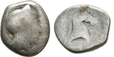 Ancient Greece 5-4 Cent BC THESSALY PHARSALOS Silver Hemidrachm ATHENA Horse #2