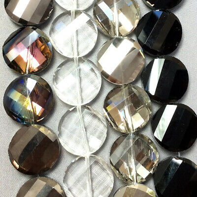 Black Gray Clear 18mm Faceted Twist Coin Chinese Crystal Glass Beads Q1 Strand