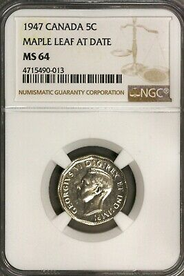 Canada 1947 5 Cents 5 C Maple Leaf at Date NGC MS 64