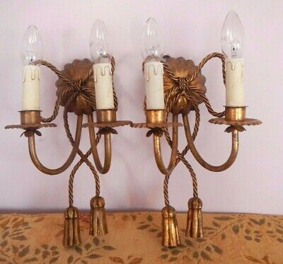 Pair Vintage Decorative Aged Gilt Metal Rope Bow Candle Wall Sconce Lights