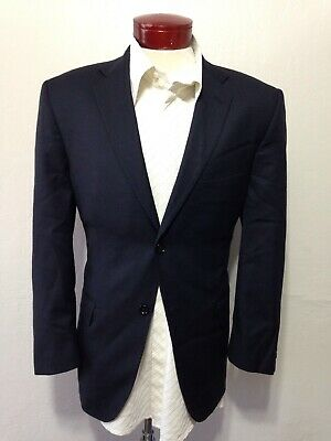 Joseph Feiss Gold Mens 42S Navy Birdseye Suit Pleated 36x28 Pants I293