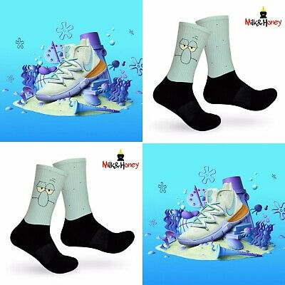 Kyrie SpongeBob Squidward Customized Socks