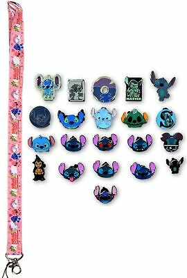 Stitch Themed Lanyard Starter Set w/ 20 Lilo & Stitch Disney Trading Pins ~ NEW