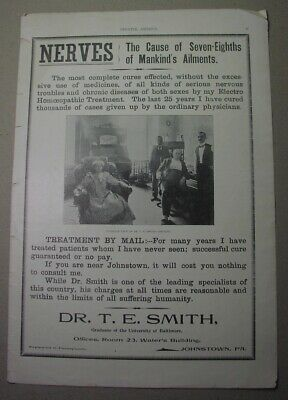 1899 ad: Electro Homeopathy physician, Johnstown Pa. alternative medicine