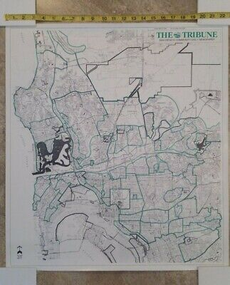 """The Tribune - San Diego's Community Daily Newspaper"" 1983 MAP POSTER 22.5""x35"""