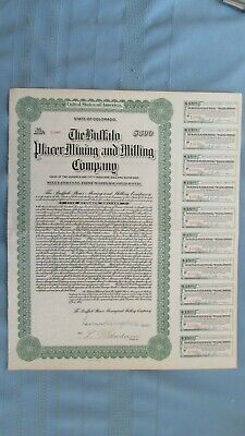 1913 Buffalo Placer Mining & Milling Company Colorado $500 Bond With Coupons