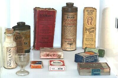 Antique Quack Medicine Lot Inglubin Doan's Eyecup Oxford Kitchen Cigarettes