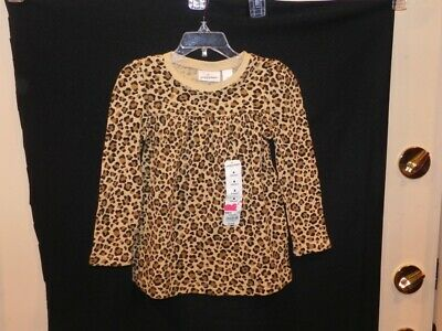 NWT-Girl's Brown Animal Print Thermal Like L/S Babydoll from Jumping Beans-Sz 4