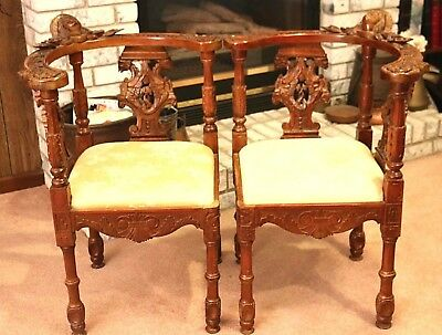 Remarkable Antique Pair of Corner Chairs w/Carved Faces Grffons Cherub Vintage!