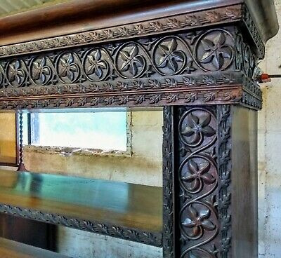 A Fabulous Large Anglo Indian Carved Hardwood Open Library Bookshelf...
