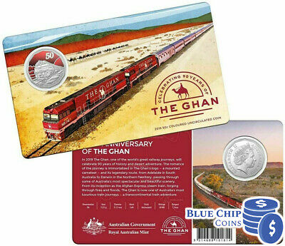 2019 UNC 50c 90th Anniversary of The Ghan Coin on Card