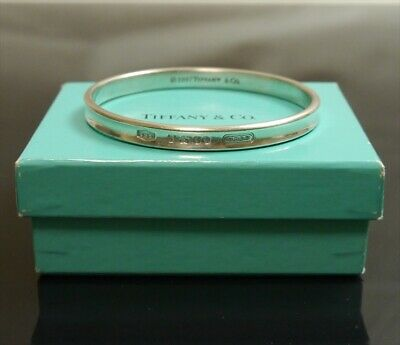 Authentic Tiffany & Co. Bracelet Bangle 1837 Sterling Silver #8239
