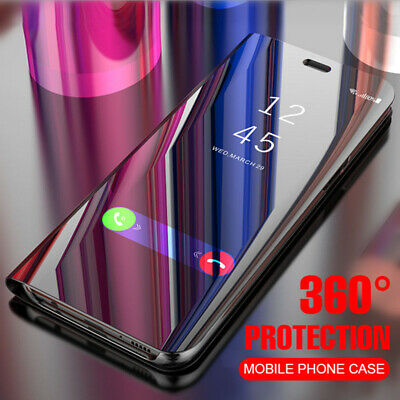 Samsung Galaxy S8 S9 S10 Plus S10e Note 8 9 Mirror View Flip Clear Case Cover