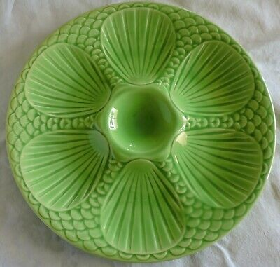 French Majolica oysters plate Digoin Sarreguemines