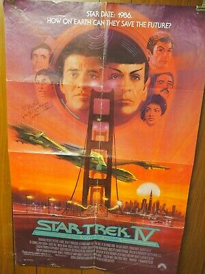 """Star Trek IV """"The Voyage Home"""" George Takei Autographed One SHeet Poster 27x40"""""""