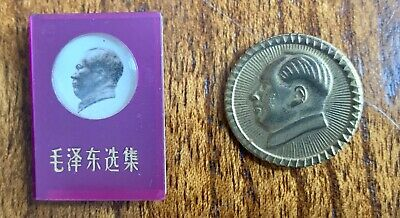 CHINA 70th COMMUNISM ANNIVERSARY 2 ORIGINAL VINTAGE BADGES ,CHAIRMAN MAO