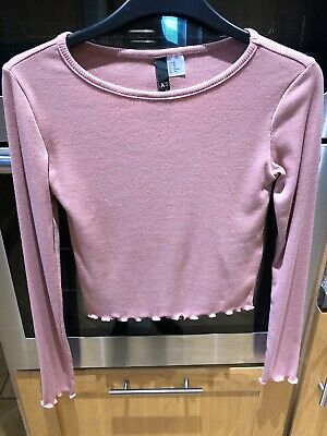 NWT Pretty Pink Long Sleeved Ladies Girls Top XS H&M