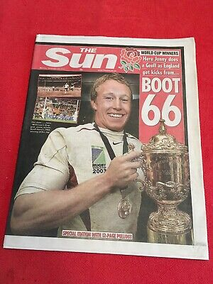 The Sun Newspaper 24/11/2003 Rugby Union World Cup Winners Edition