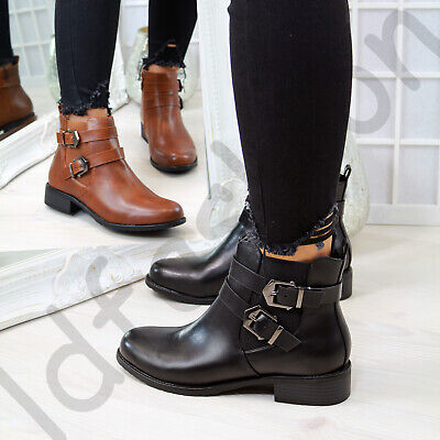 New Womens Flat Ankle Boots Buckle Zip Casual Low Heel Ladies Shoes Sizes 3-8