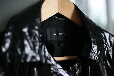 Shiny, very light black faux leather look Jaeger trench / rain coat, size S