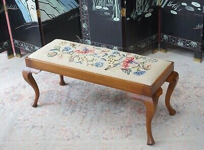 Antique Embroidery Long Footstool - Delivery Available