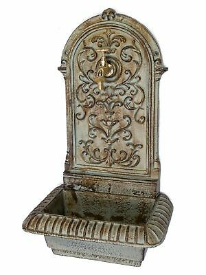 Wall fountain with basin - garden ornament - antique style - iron - green