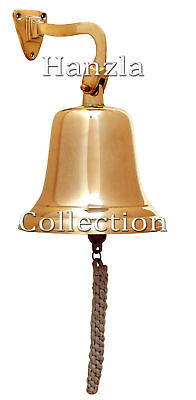 "10"" Large Brass Ship Bell Wall Mount Bracket Nautical Maritime Hanging Door Bell"